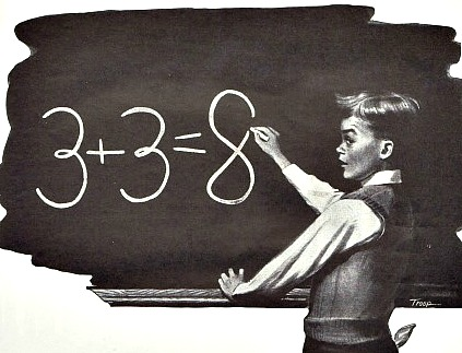 Vintage Illustration schoolboy blackboard
