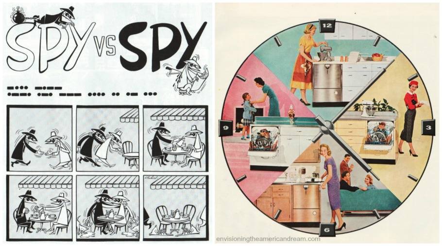 collage vintage Housewives and kitchen and spy vs spy cartoon MAD Magazine