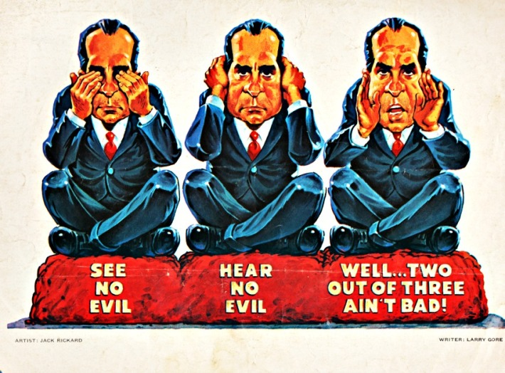 See No Evil Illustration Nixon MAD Magazine
