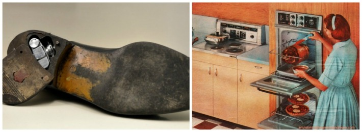 collage spy shoe 1960s and 1960s housewife in the kitchen