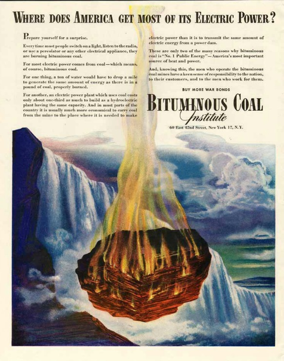 Vintage coal ad Bituminous Coal Institute 1944