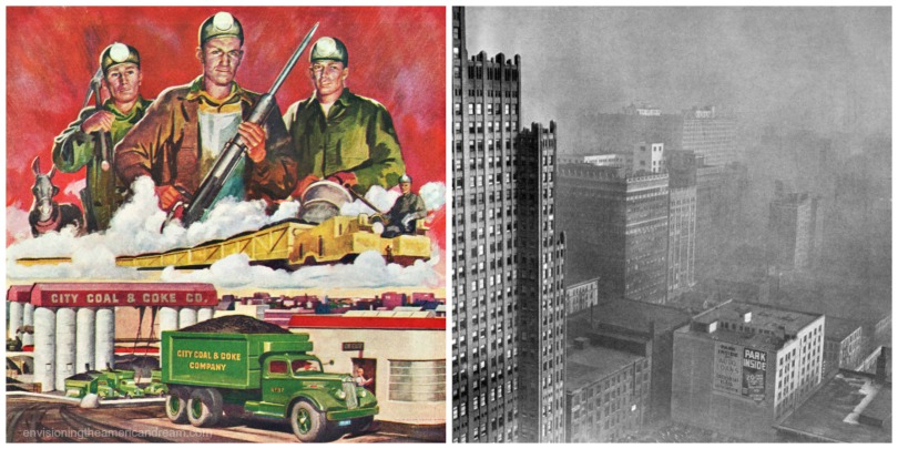 collage Vintage illustration1940s coal miners production and Pittsburgh air pollution