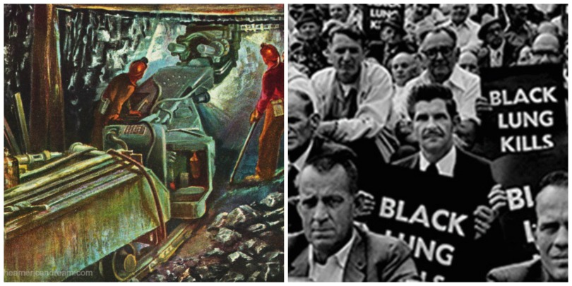 illustration coal miners and coal miners protesting