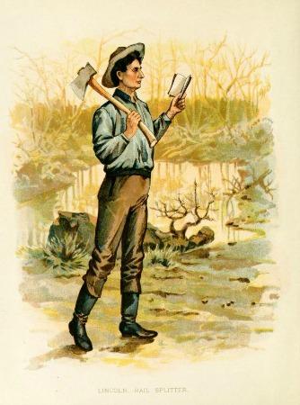 vintage illustration of Abe Lincoln reading