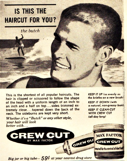 Vintage Ad 1961 Crew Cut Butch wax surfer boy