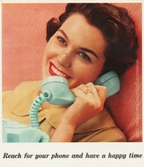 vintage telephone ad housewife on phone