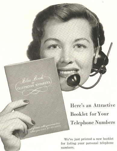 vintage telephone ad Phone directory and operator