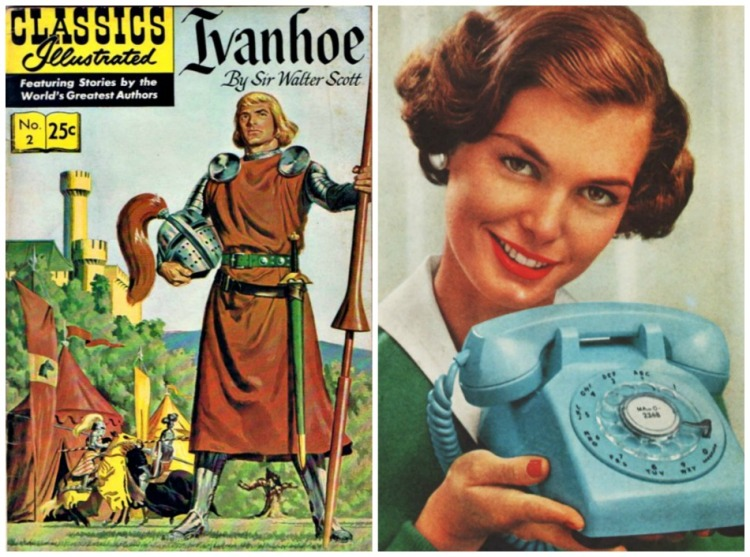 collage Classic Comics Ivanhoe cover and 1950s housewife and telephone