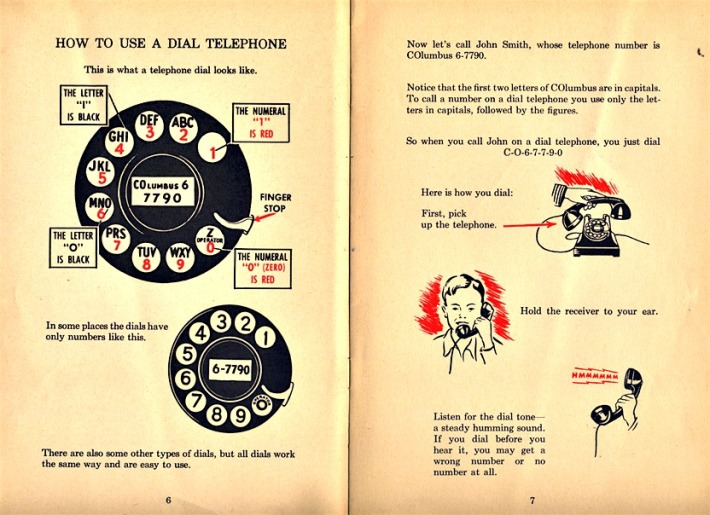 vintage instruction using a dial telephone