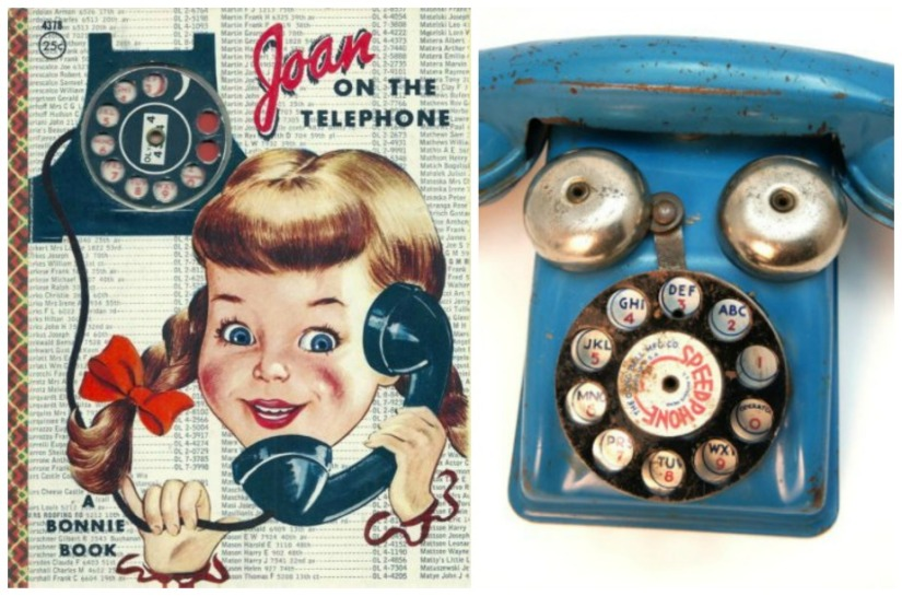 Vintage telephone toys and books