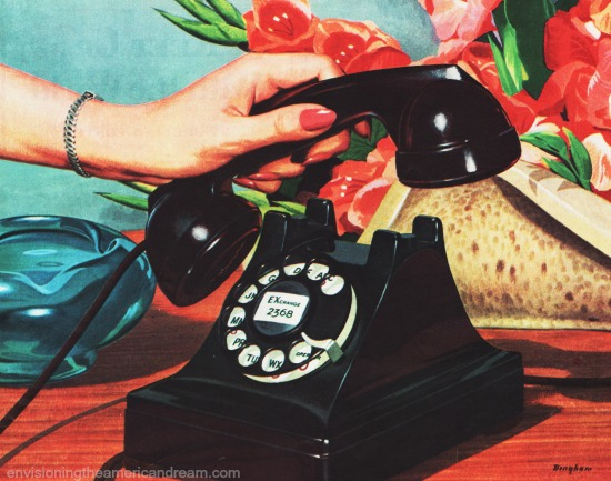 vintage Bell Telephone ad rotry phone