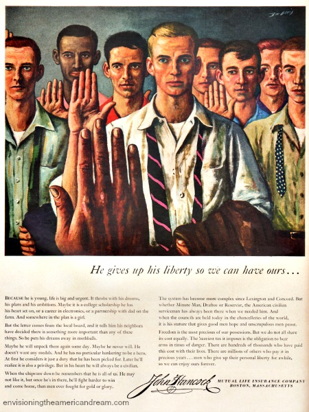 Vintage ad showing enlisted men in the army