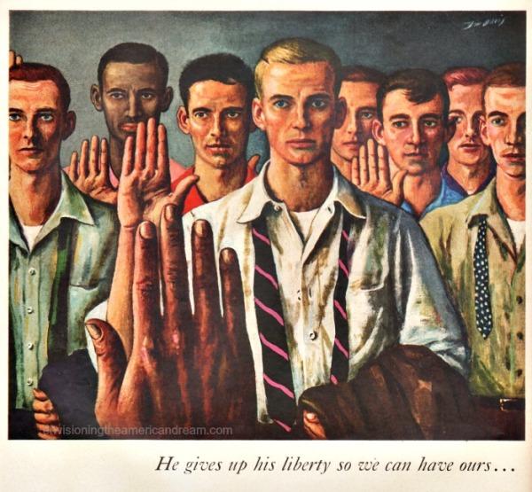 Vintage Ad John Hancock 1955 Illustration inductees army
