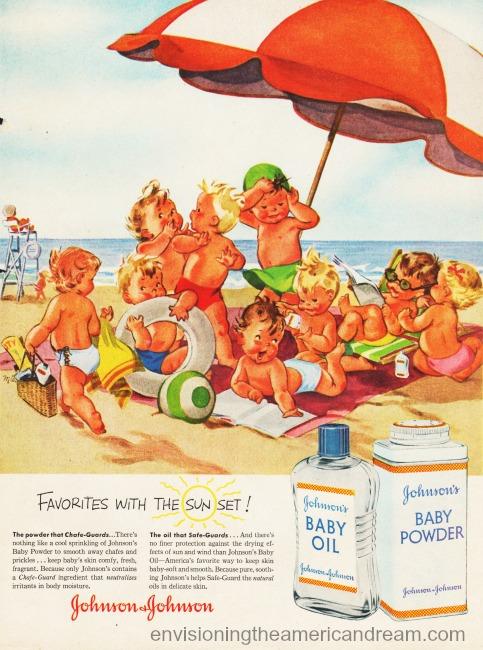Vintage ad Johnson's Baby Oil 1illustration babies at beach