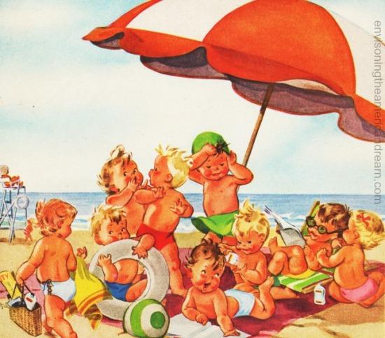 Vintage illustration of babies at beach