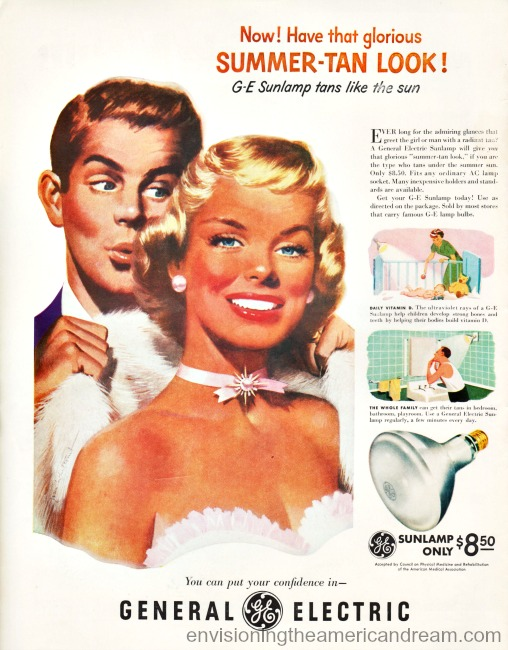Vintage Illustration tanned man and woman Vintage ad GE Sunlamp