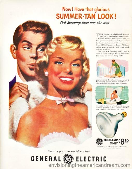 Vintage Illustration tanned man and woman Vintage ad GE Sunlamp