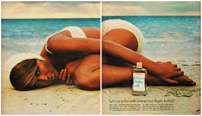 Vintage ad for Tanning Johnsons baby Oil