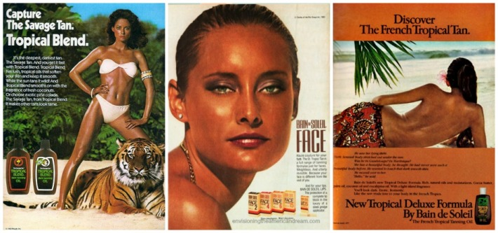 vintage tropical tanning oil ads 1970s