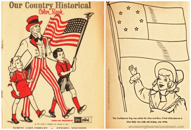 Vintage coloring book pages 1950's Uncle Sam and children and confederate flag