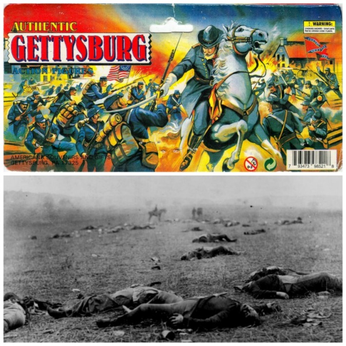 Vintage box Gettysburg Action Figures and Mathew Brady Photo Dead at Gettysburg