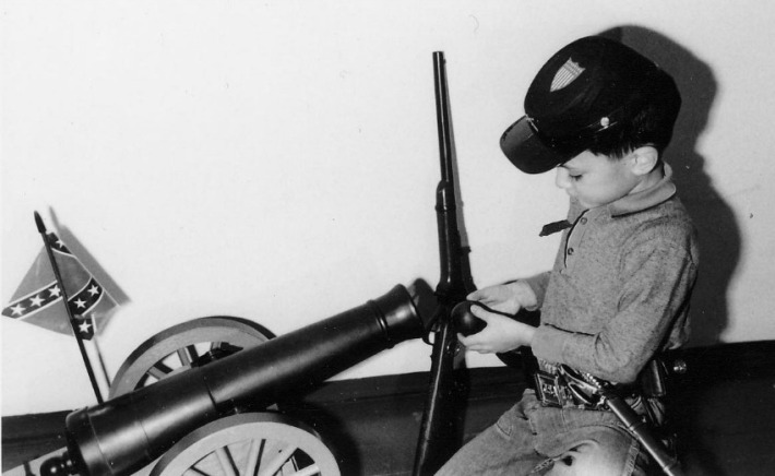 1960s boy with Johnny Reb Toy Cannon