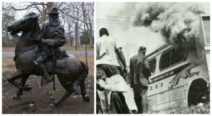 collage Photo of statue of General Longstree and Freedom Riders Bus burning