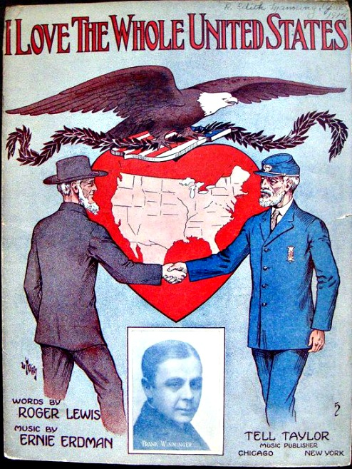 vintage Sheet Music Civil War Veterans shakin hands