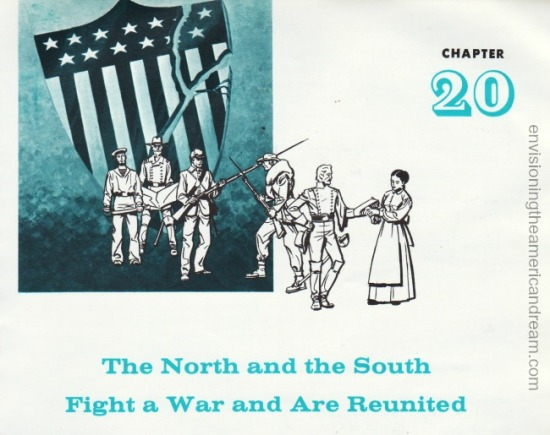 vintage schoolbook illustration Civil War The North and South Fight a War and are Reunited