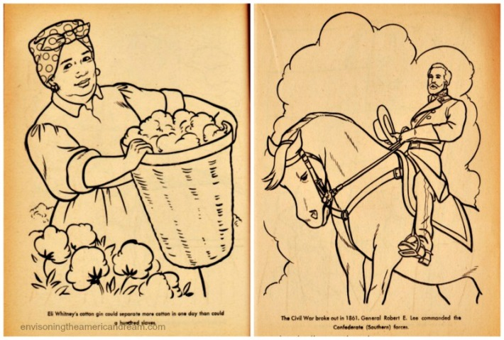 Vintage coloring book pages Happy Slave picking cotton and General Robert Lee