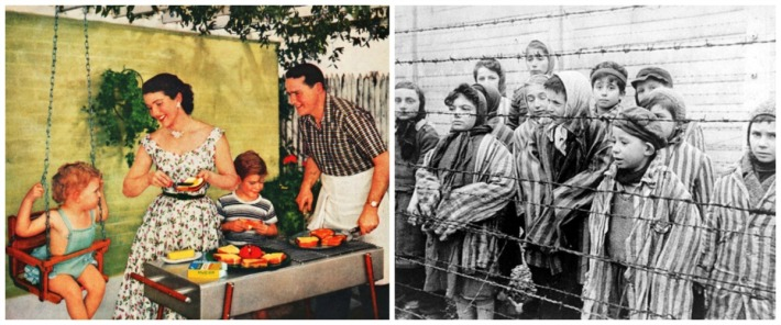 vintage family back yard suburbs and Holocaust victims