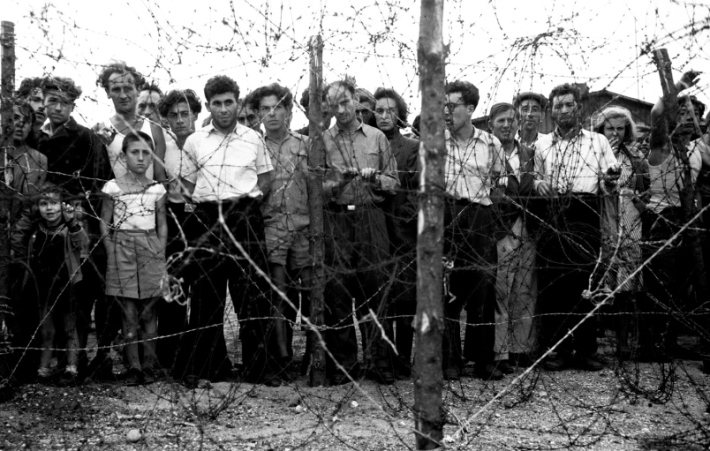 Holocaust survivors in a Displaced persons Camp