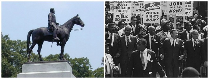 Photos of General Robert E Lee statue Gettysburg and March on Washington 1963