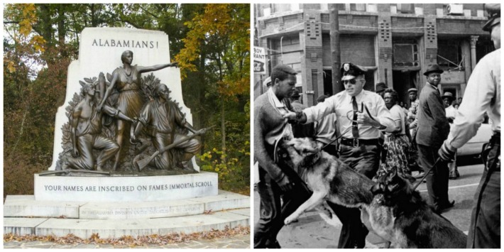 collage Photo of Alabama State Monument Gettysburg and Civil Rights activists in Birmingham being attacked 1963