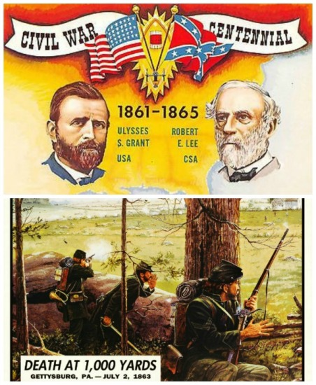 Civil War Centennial postcard Grant and Lee and Civil War Trading Card