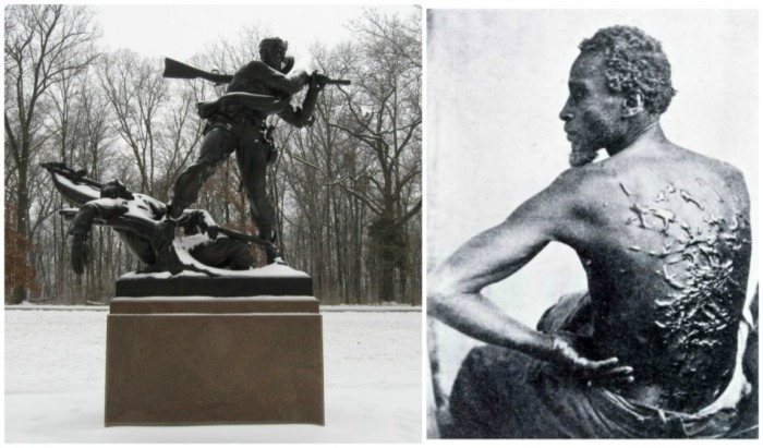 Mississippi Monument Gettysburg and photo of slave with welts