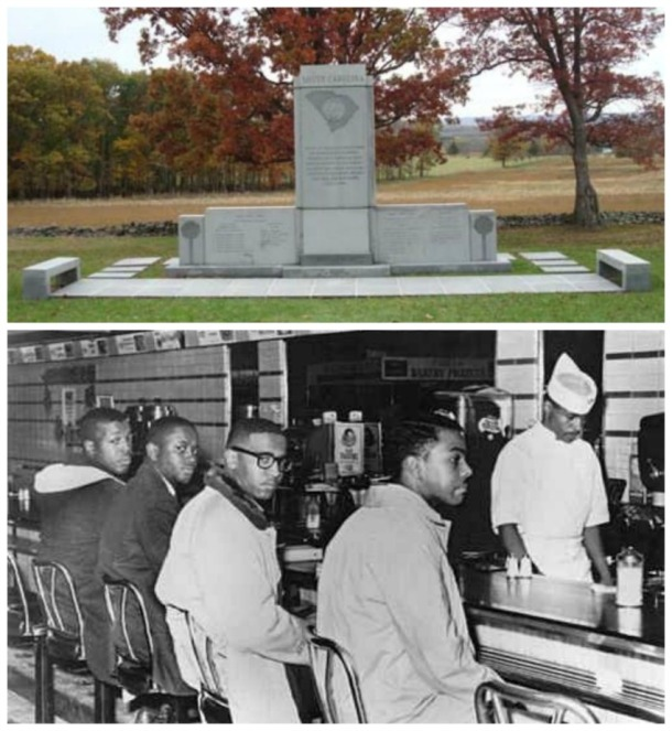 collage picture of South Carolina Monument at Gettysburg and students at a sit in in Greensboro