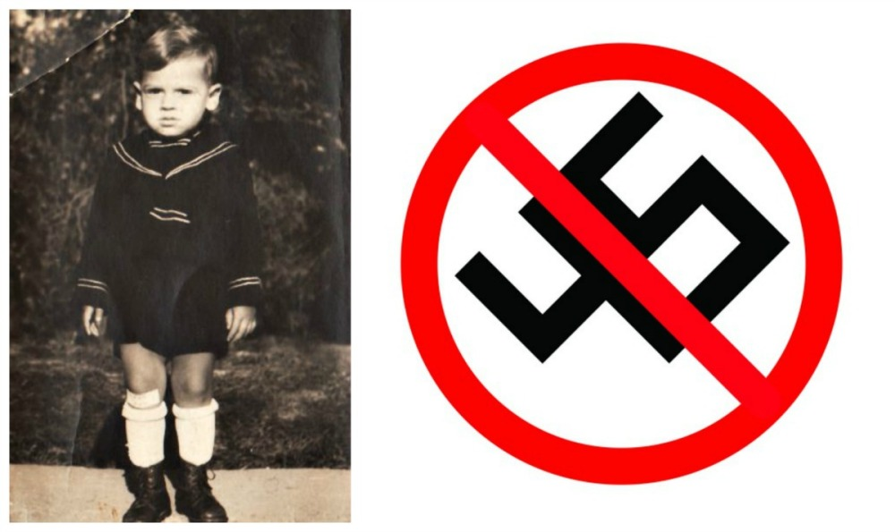 collage child in 1940s dp camp and swastika anti Trump 45