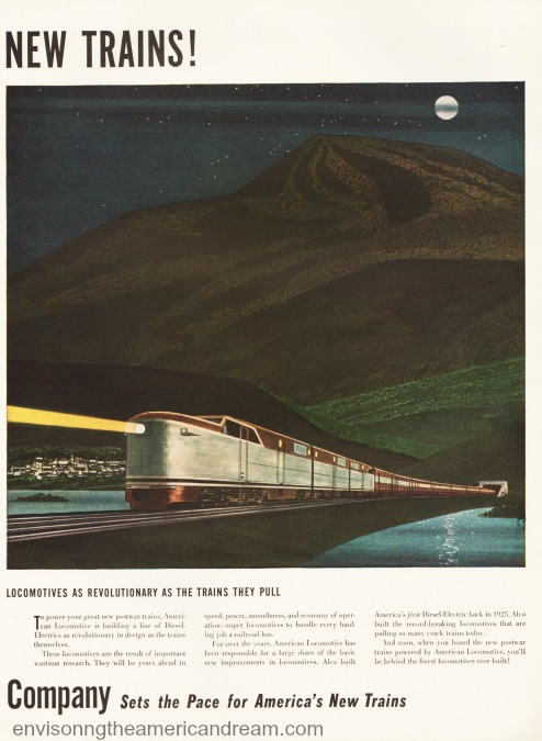 Vintage ad 1946 American Locomotive Co. illustration of train