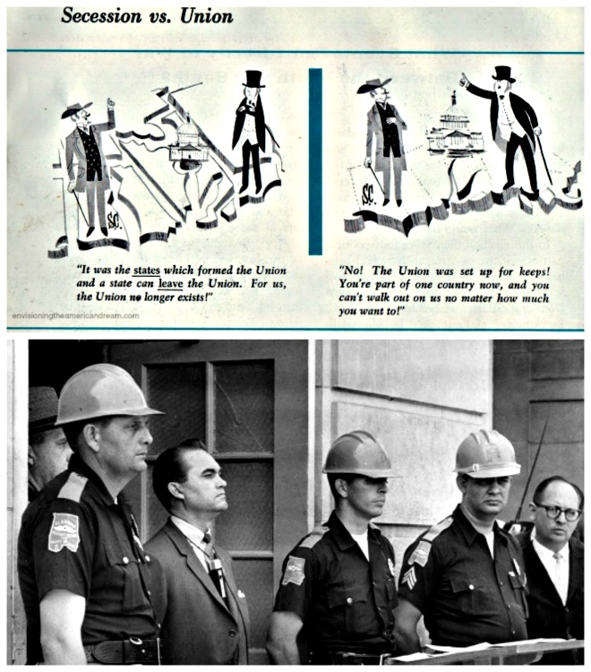 George Wallace in front of entrance to U of Alabama 1963 and vintage textbook illustration Civil War States Rights