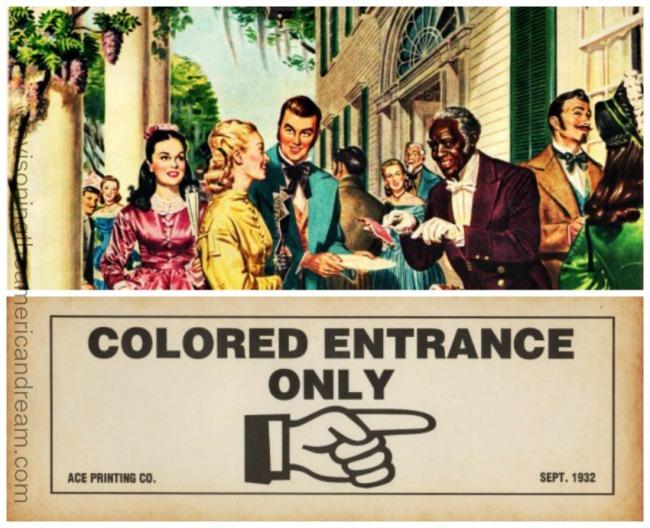 Vintage illustration Old South Hospitality and Jim Crow Era Sign