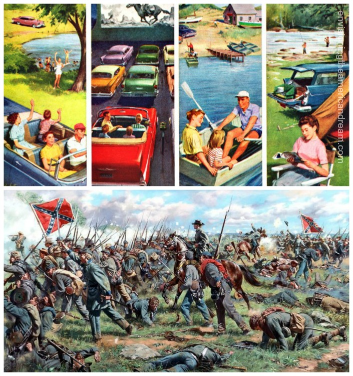 collage 1960's summer travel and Civil War battle painting