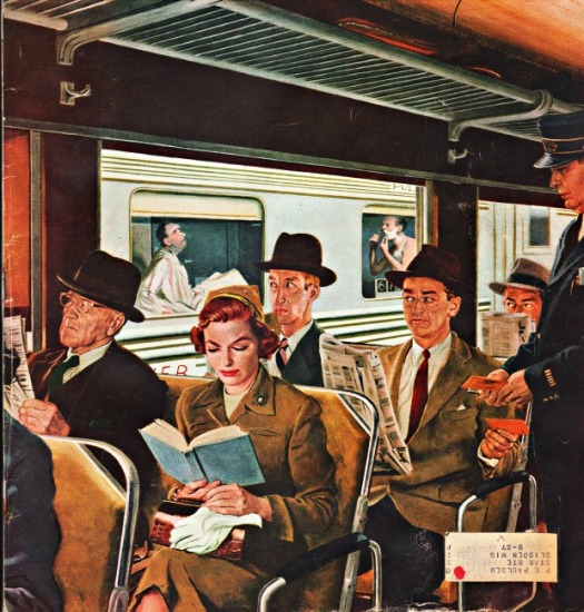 vintage illustration train commuters
