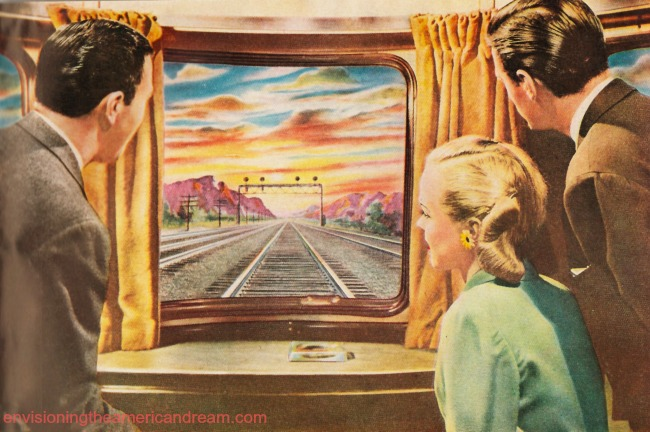 vintage illustration people looking out train wondow
