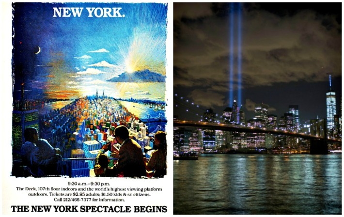 vintage ad World Trade Center and 9/11 memorial Lights