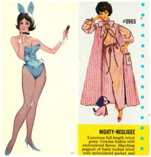 Playboy Bunny illustraion and Vintage Barbie Doll Fashion
