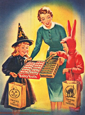 Vintage Halloween Candy Ad Trick or Treaters