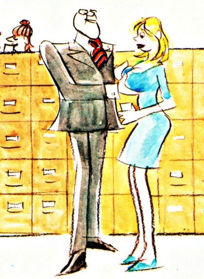 Vintage cartoon Penthouse office sexual harrasment