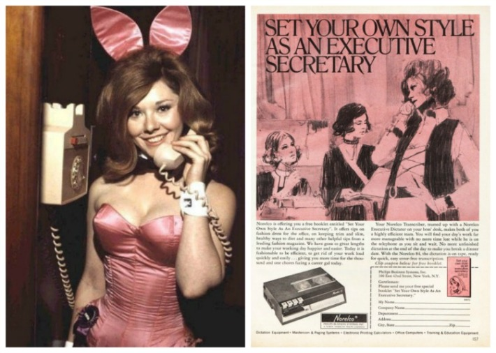 photo Playboy bunny on the telephone and vintage 1970 ad for executive Secretary