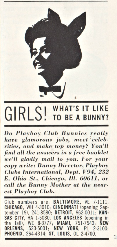 Vintage ad for Playboy Bunny 1964